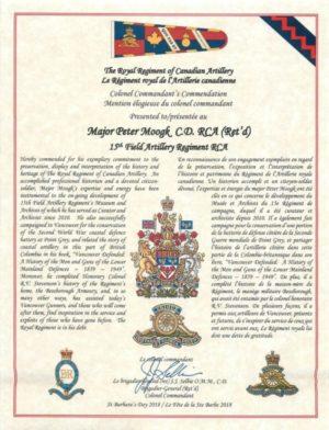 Colonel Commandant's Commendation